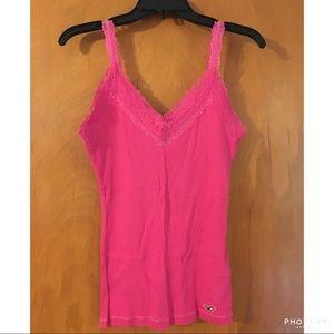 Hot pink lace trim cami
